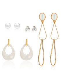 Fashion Gold Hollow Geometric Diamond Stud Earrings 4 Pairs