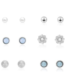Fashion Silver Geometrical Petal-studded Pearl Stud Earrings 6 Pairs