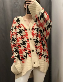 Fashion Khaki Houndstooth V-neck Single-breasted Sweater