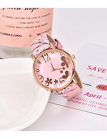 Fashion Light Pink Alloy Electronic Element Pu Printing Watch