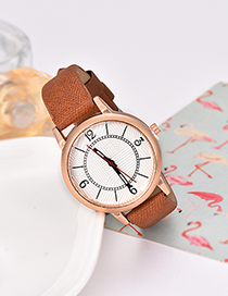 Fashion Brown Solid Color Pu Alloy Electronic Watch