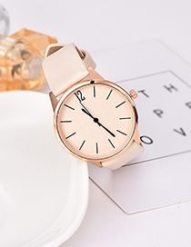 Fashion Beige Solid Color Pu Alloy Electronic Watch