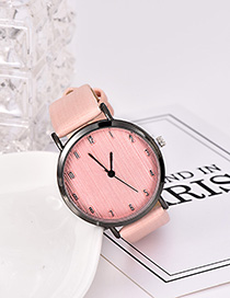 Fashion Light Pink Solid Color Pu Alloy Electronic Watch