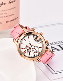 Fashion Pink Pu Bamboo Alloy Electronic Element Watch