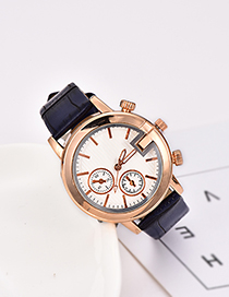 Fashion Navy Pu Bamboo Alloy Electronic Element Watch