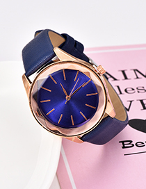 Fashion Navy Solid Color Pu Alloy Electronic Watch