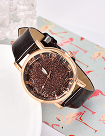 Fashion Dark Brown Pu Sequin Alloy Electronic Watch
