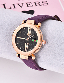Fashion Purple Pu Diamond-encrusted Alloy Electronic Watch