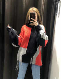 Fashion Stitching Color Fringed Contrast Stitching Pullover