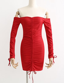Fashion Red Solid Pleated Collar Dress
