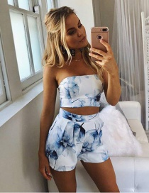 Fashion White Printed Tube Top Leaking Navel Top + Shorts Suit