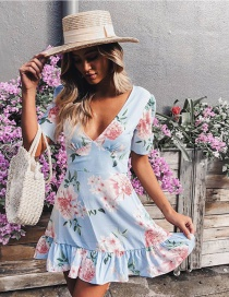 Fashion Blue Printed V-neck Ruffled Stitching Fishtail Jumpsuit