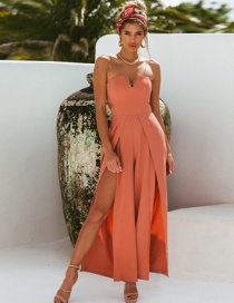 Fashion Orange Straight Sling Strapless Backless Jumpsuit