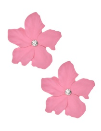 Fashion Pink Alloy Diamond Flower Earrings