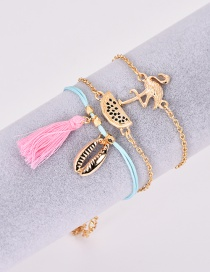Fashion Gold Alloy Shell Flamingo Tassel Bracelet 3 Piece Set