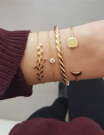 Fashion Gold 4-piece Set Of Moon Round Twist Drill Bracelet Set