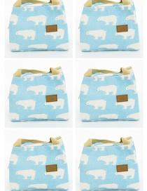 Fashion Blue-and-white Polar Bear Canvas Portable Lunch Bag