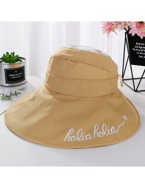 Fashion Ginger Yellow Empty Top Embroidered Letters Hat