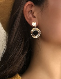 Fashion Black Imitation Pearl Geometric Diamond Earrings