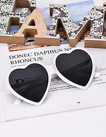 Fashion White Frame + Black Lens Resin Love Sunglasses
