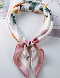 Fashion Leather Powder Printed Flamingo Small Scarf
