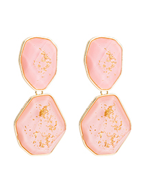 Fashion Pink Plate Earrings: Gold Flower Embellishment