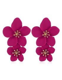 Fashion Red Alloy Flower Earrings