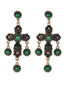 Fashion Dark Green Alloy Diamond Pearl Flower Cross Stud Earrings