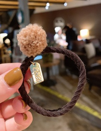Fashion Khaki Hair Ball Hair Ring