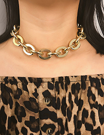 Fashion Gold Metal Round Cross Chain Necklace