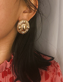 Fashion Gold Elliptical Irregular Alloy Earrings