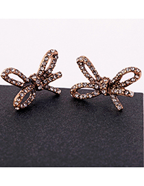 Fashion Bronze Bow And Diamond Stud Earrings