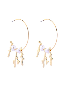 Fashion Gold Circle Resin Pearl Earrings