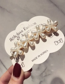 Fashion 4 Flower Tip Clips Pearl Flower Long Duckbill Clip