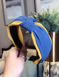Fashion Yellow + Blue Contrast Knotted Wide-brimmed Headband