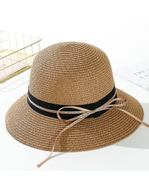 Fashion Light Coffee Streamer Letter Tether Straw Hat