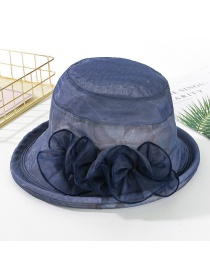 Fashion Navy Printed Curling Small Basin Hat