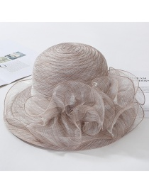 Fashion Coffee Color Big Wavy Side Organza Big Flower Fisherman Hat