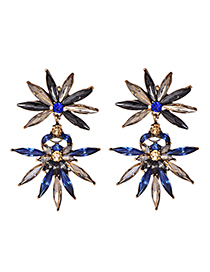 Fashion Blue Alloy Stud Earrings
