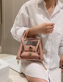 Fashion Pink Jelly Plastic Mother-of-pearl Doodle Shoulder Chain Messenger Bag