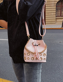 Fashion Pink Pulling A Billiard Shoulder Slung Bucket Bag