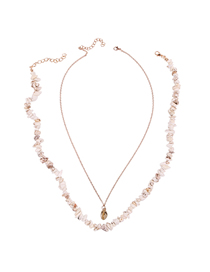 Fashion White Alloy Turquoise Shell Two-layer Necklace