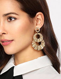 Fashion Gold Alloy Round Multi-layer Earrings