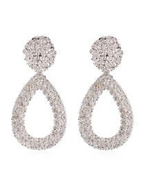 Fashion White K Alloy Drop Earrings