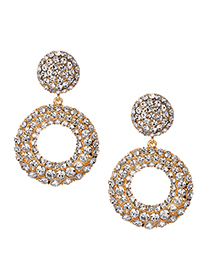 Fashion Alloy + Drill Alloy Diamond Round Earrings
