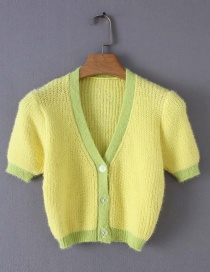 Fashion Yellow Contrast V-neck Single-breasted Sweater