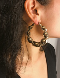 Fashion Gold Threaded Round Glossy Earrings
