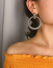 Fashion Large White K Geometric Hollow Embossed Round Earrings