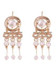 Fashion Gold Alloy Pearl Tassel Earrings