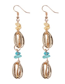 Fashion Gold Alloy Shell String Turquoise Earrings